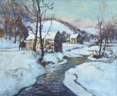 Walter Emerson Baum Oil on Canvas Winter Landscape Entitled Mill