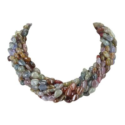 1460 Carat Genuine Natural Earthy Multi Sapphire Tumbled Bead Choker Necklace