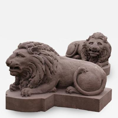 Monumental Carved Stone Lions from the Decker Mansion in Montgomery PA