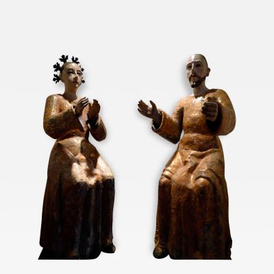 A Pair of Spanish Colonial Altar Piece Figures Mexican late 18th C