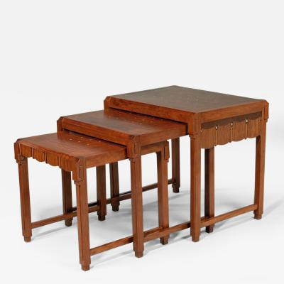 Jules Cayette Set of Art Deco Nesting Tables signed by Jules Cayette