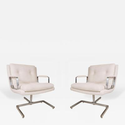 Raphael Furniture Pair of Important Raphael Chairs with Metal Base in Belgian Linen France