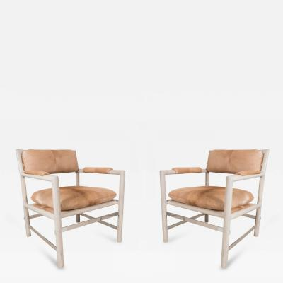 Edward Wormley Pair of Edward Wormley for Dunbar Chairs in Cowhide Circa 1960 USA