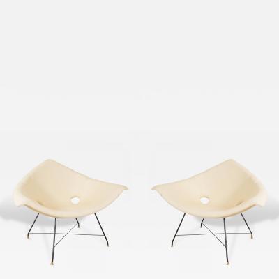 Augusto Bozzi Pair of Rare Pale Yellow Fratelli Saporiti Augusto Bozzi Chairs