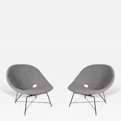 Augusto Bozzi Pair of Blue Saporiti Chairs by Augusto Bozzi