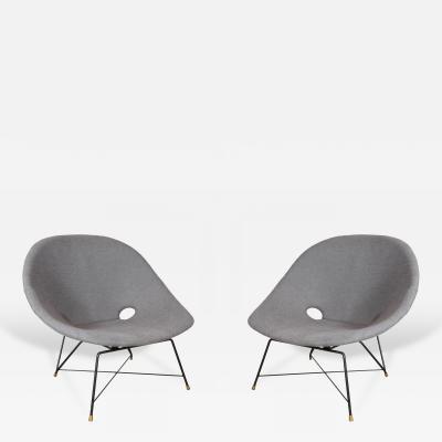 Augusto Bozzi Pair of Blue Saporiti Chairs by Augusto Bozzi