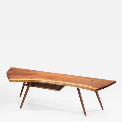 George Nakashima Slab Coffee Table with Magazine Shelf c 1950