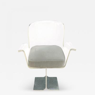 Desk Chair With Swiveling Lucite Seat 1970s