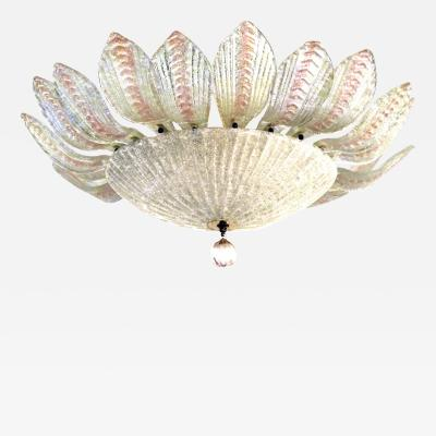 A Glamorous and Large Pair of Murano Clear and Blush Art Glass Pendants