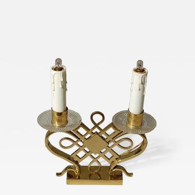 Jules Leleu Pair of Brass Table Lamps attributed to Leleu c 1935