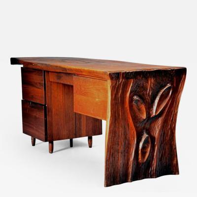 Phillip Lloyd Powell Walnut Desk by Phillip Lloyd Powell