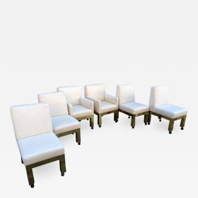 Paul Evans Set of Six Brass Cityscape Chairs Paul Evans for Directional
