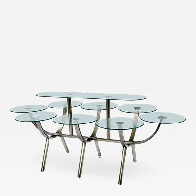 Design Institute America Glass and Steel Banquet Table by Design Institute of America
