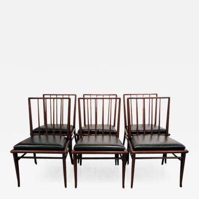 T H Robsjohn Gibbings Set of Six Walnut Dining Chairs by T H Robsjohn Gibbings for Widdicomb