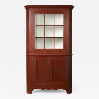 Federal Red Painted Corner Cupboard