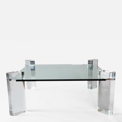 Karl Springer Glass and Lucite Low Table USA c 1970 s