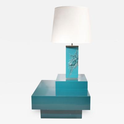 Maison Charles Lacquered Corner Table and Lamp Maison Charles France c 1960 s