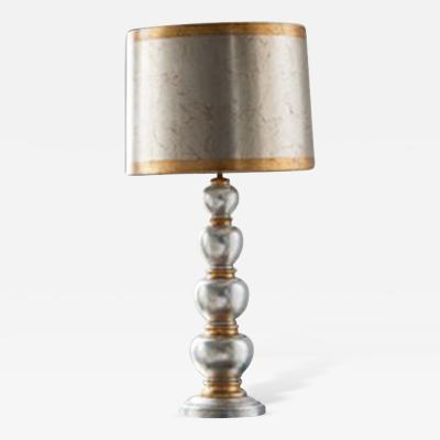 James Mont Silver and Gold Leafed Lamp James Mont USA c 1940s