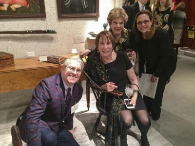David Schorsch (David Schorsch-Eileen Smiles Antiques), Bobbie Falk (collector), Wendy Cooper (Winterthur curator emeritus), Eileen Smiles (David Schorsch-Eileen Smiles Antiques) in David and Eileen