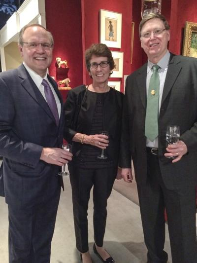 Stu Stender and Deborah Davenport (collectors) with Gary Sullivan (Gary Sullivan Antiques)