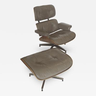 Charles Ray Eames Early Taupe Grey Leather Eames 670 Chair 671 Ottoman