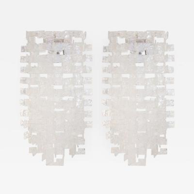 A V Mazzega Pair of Large Italian Opalescent and Clear Glass Sconces A V Mazzega