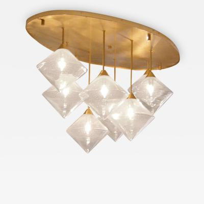 Brass and Glass Ceiling Fixture USA 21st c