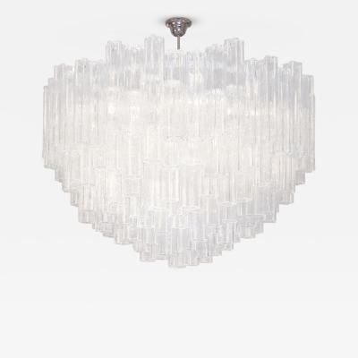 Venini Textured Tubular Clear Glass Chandelier Venini Italian c 1970s