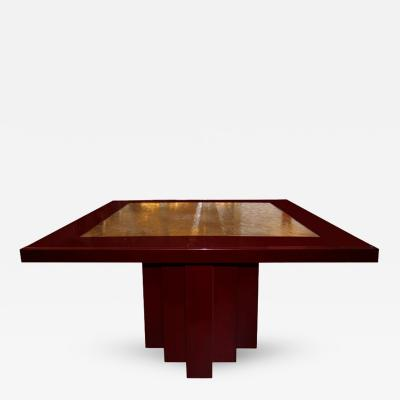 George Mathias Signed George Mathias Etched Bronze Deep Red Lacquered Table 1970s