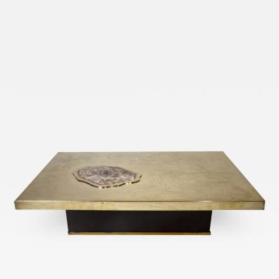 Willy Daro Signed Willy Daro Etched Bronze and Petrified Wood Coffee Table 1970s