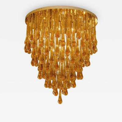Barovier Toso Large Amber Glass Teardrop Chandelier Barovier Toso 1960s