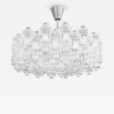 Carl Fagerlund Glass Chandelier Carl Fagerlund for Orrefors Sweden c 1950s