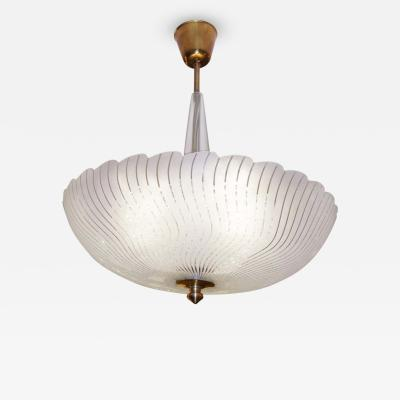 Orrefors Tiered Glass Chandelier with Wavy Strips Scallop Edge Orrefors c 1940s