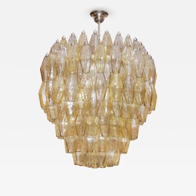 Venini Amber Gray Polyhedral Glass Chandelier Venini Italy c 1970s