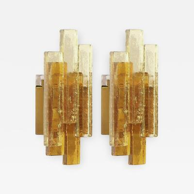 Svend Aage Holm Sorenson Pair of Amber Glass Sconces by Svend Aage Holm Sorensen two pair available