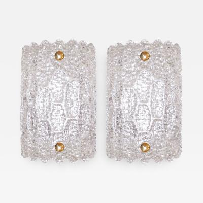 Carl Fagerlund Pair of Glass Sconces Carl Fagerlund for Orrefors Sweden c 1940s