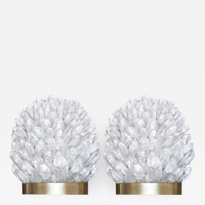 Craig Van Den Brulle Pair of Rock Crystal and Bronze Sconces