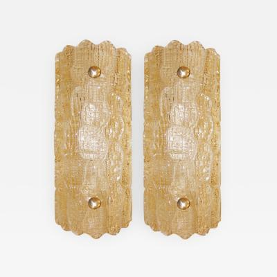 Carl Fagerlund Pair of Amber Glass Sconces Carl Fagerlund for Orrefors Sweden c 1940s