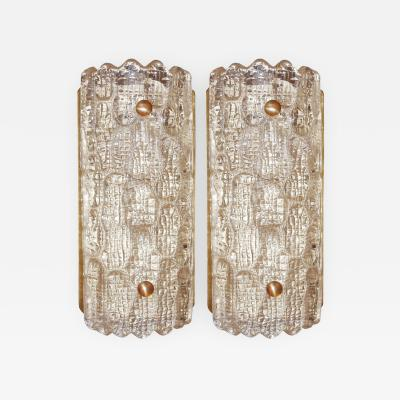 Carl Fagerlund Pair of Glass Sconces Carl Fagerlund for Orrefors Sweden 1940s