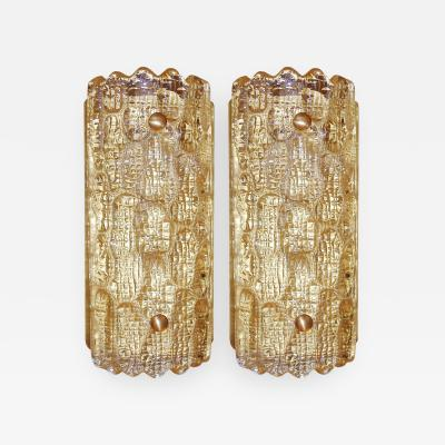 Carl Fagerlund Pair of Amber Glass Sconces Carl Fagerlund for Orrefors Sweden 1940s
