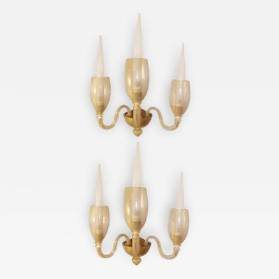 Barovier Toso Pair of 3 Arm Gold Glass Sconces Barovier Italy 1940s