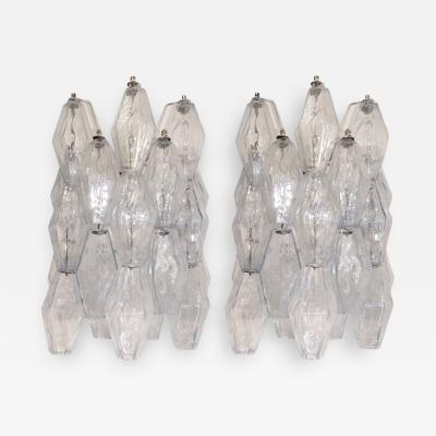 Venini Pair of Pale Blue Glass Polyhedral Sconces Venini Italy 1960s