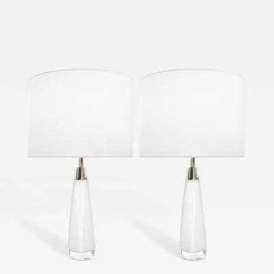 Nils Landberg Pair of White Glass Lamps Nils Landberg for Orrefors Sweden c 1960s