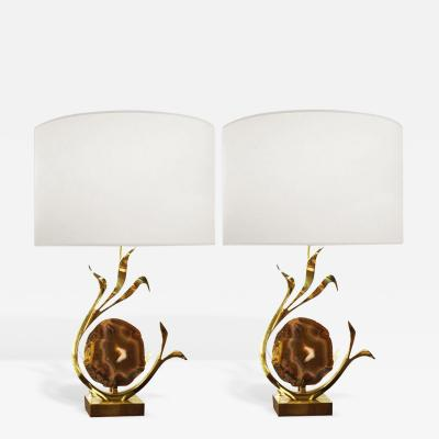 Willy Daro Pair of Signed Bronze and Agate Lamps Willy Daro Belgium c 1970s