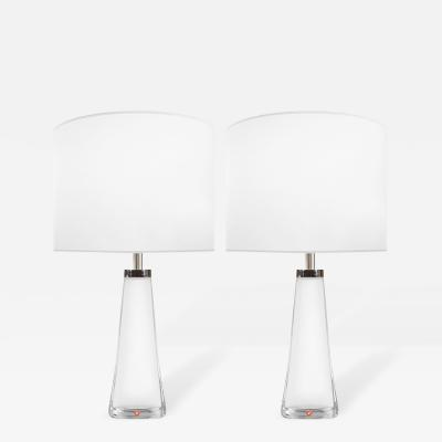 Nils Landberg Pair of White Glass Lamps Nils Landberg for Orrefors Sweden c 1950s