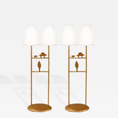 Mathias Fondica Pair of Gilt Bronze Table Lamps by Mathias Fondica France c 1970s