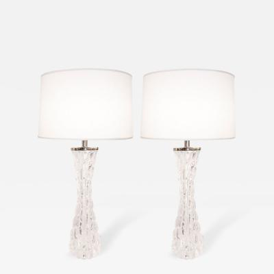 Orrefors Pair of Crystal Lamps Orrefors Sweden c 1950s