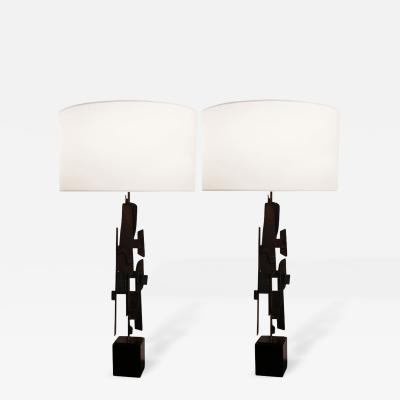 Pair of Modernist Brutalist Steel Lamps