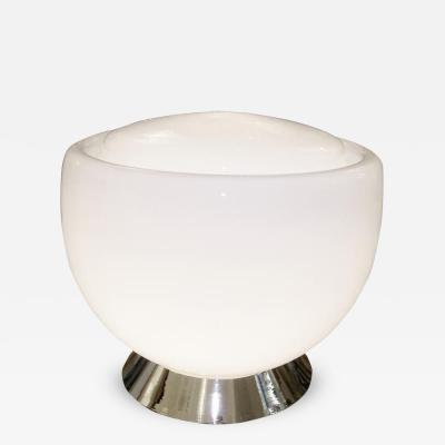 Vistosi Large White Glass Lamp on Nickel Base Vistosi Italy 1960s