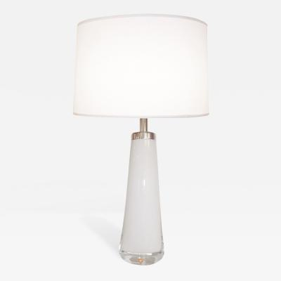 Orrefors White and Clear Glass Lamp Orrefors Sweden 1950s